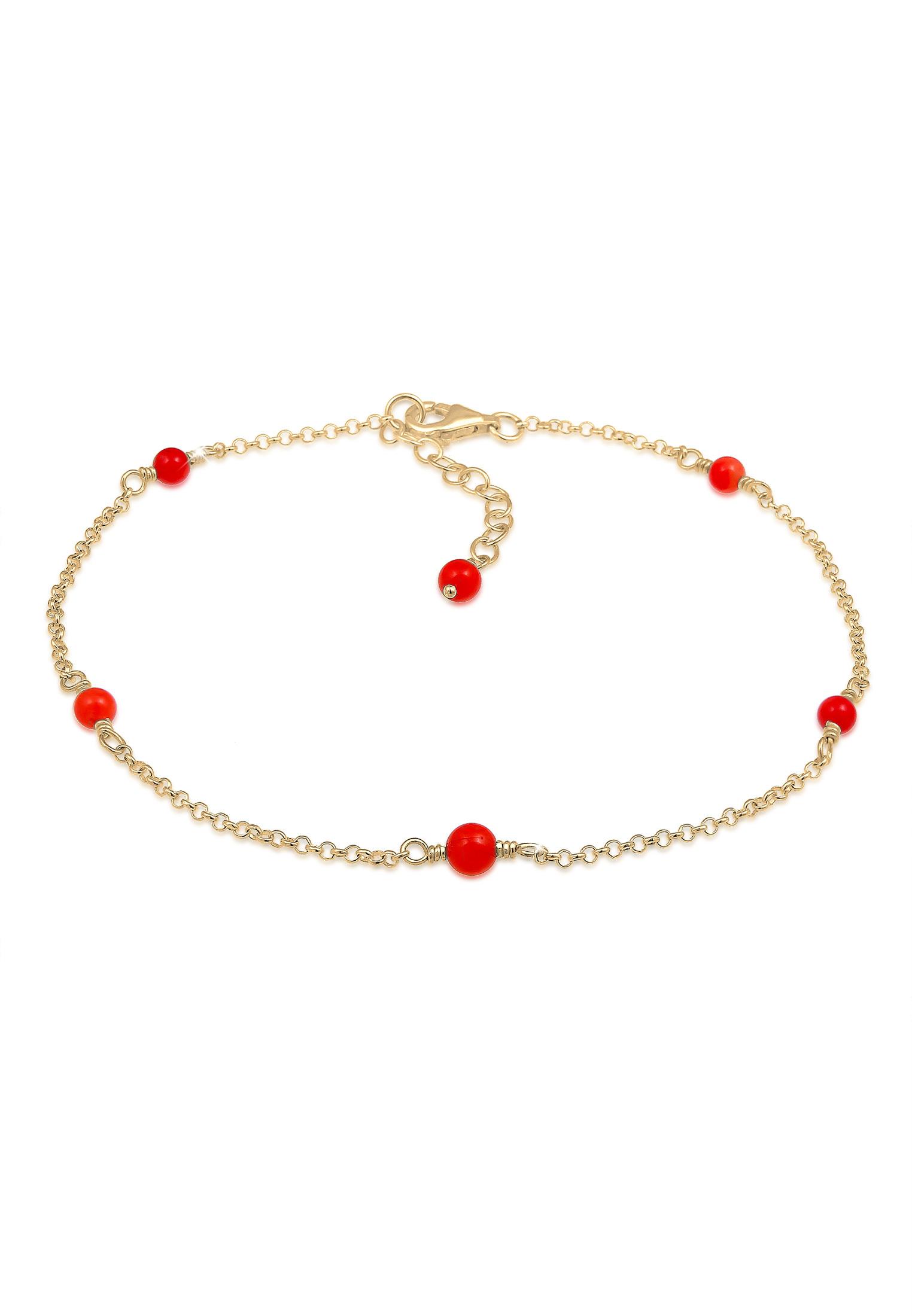 Fußkettchen Kugel | Koralle ( Rot ) | 925 Sterling Silber vergoldet