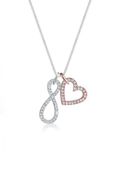 Elli Halskette Infinity Herz Kristall 925 Silber