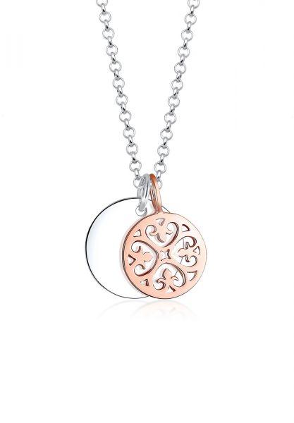 Elli Halskette Bi Color Ornament Kreis 925 Sterling Silber