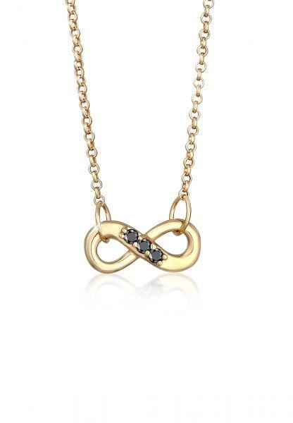 Halskette | Diamant ( Schwarz, 0,045 ct ) | 375 Gelbgold