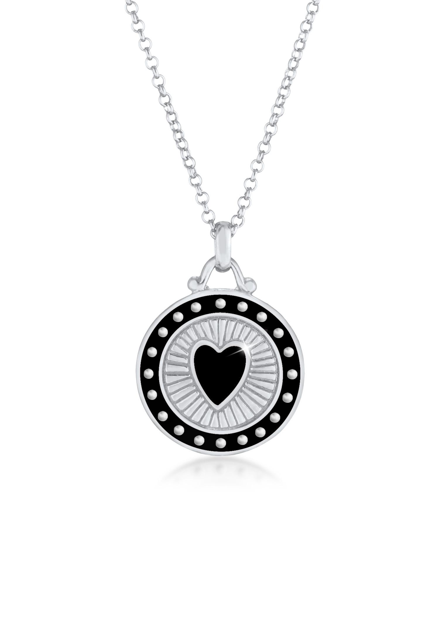 Halskette Herz Münze   Emaille   925er Sterling Silber