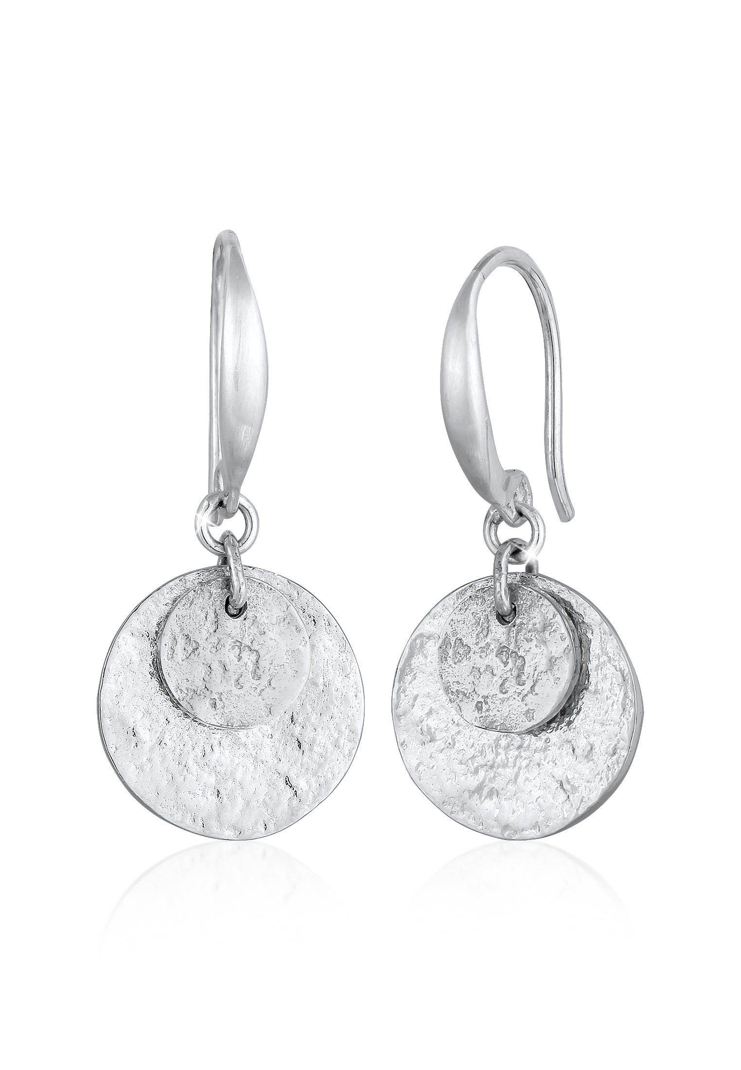 Ohrhänger Plättchen Matt | 925er Sterling Silber