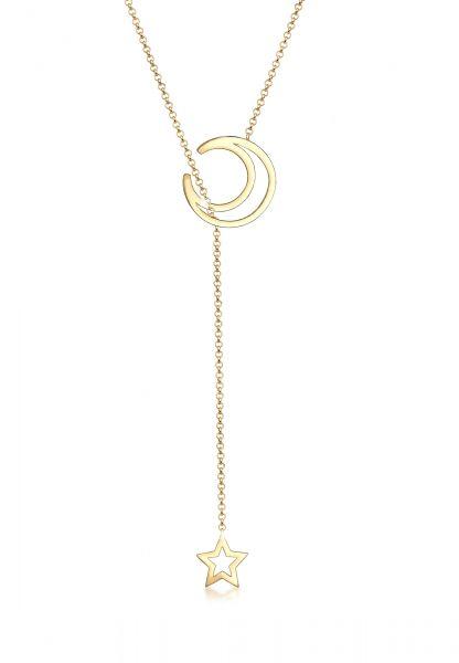 Elli Halskette Y-Kette Halbmond Stern Astro 925 Sterling Silber