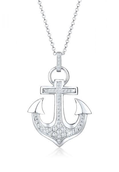 Halskette Anker   Zirkonia ( Weiß )   925er Sterling Silber