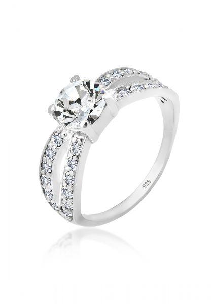 Elli Ring Solitär Glamourös Kristall 925 Silber