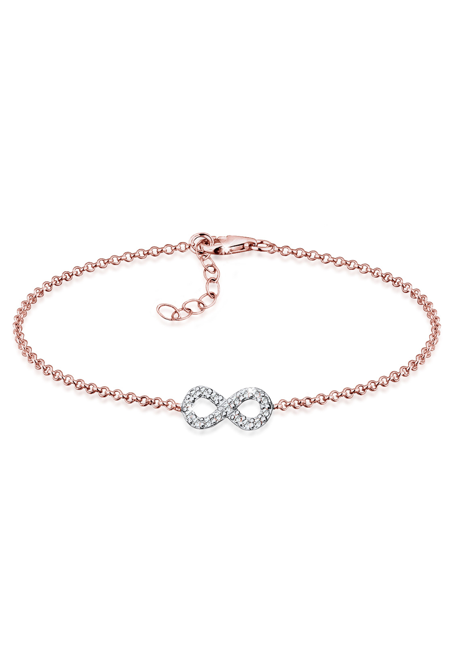 Armband Infinity | Kristall ( Weiß ) | 925 Sterling Silber Rosegold