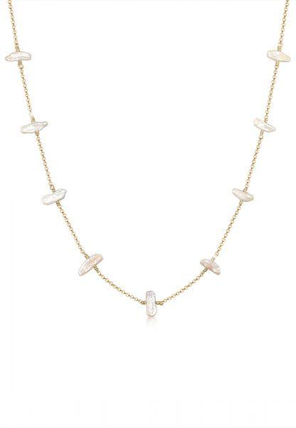 Halskette   Süßwasserperle   925 Sterling Silber vergoldet