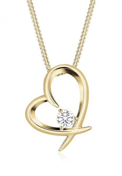 Elli Halskette Herz Geschwungen Zirkonia 925 Silber