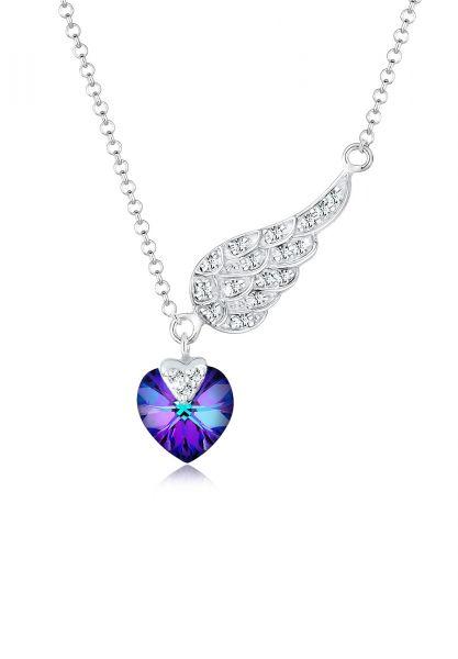 Elli Halskette Herz Flügel Kristalle 925 Silber