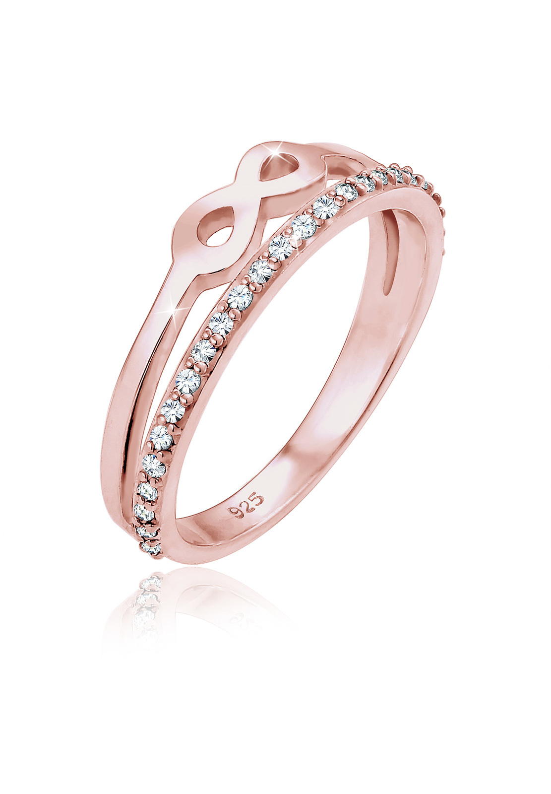 Ring Infinity | Kristall ( Weiß ) | 925 Sterling Silber Rosegold