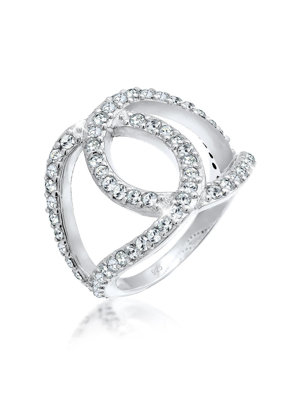 Ring Knoten | Kristall ( Weiß ) | 925er Sterling Silber
