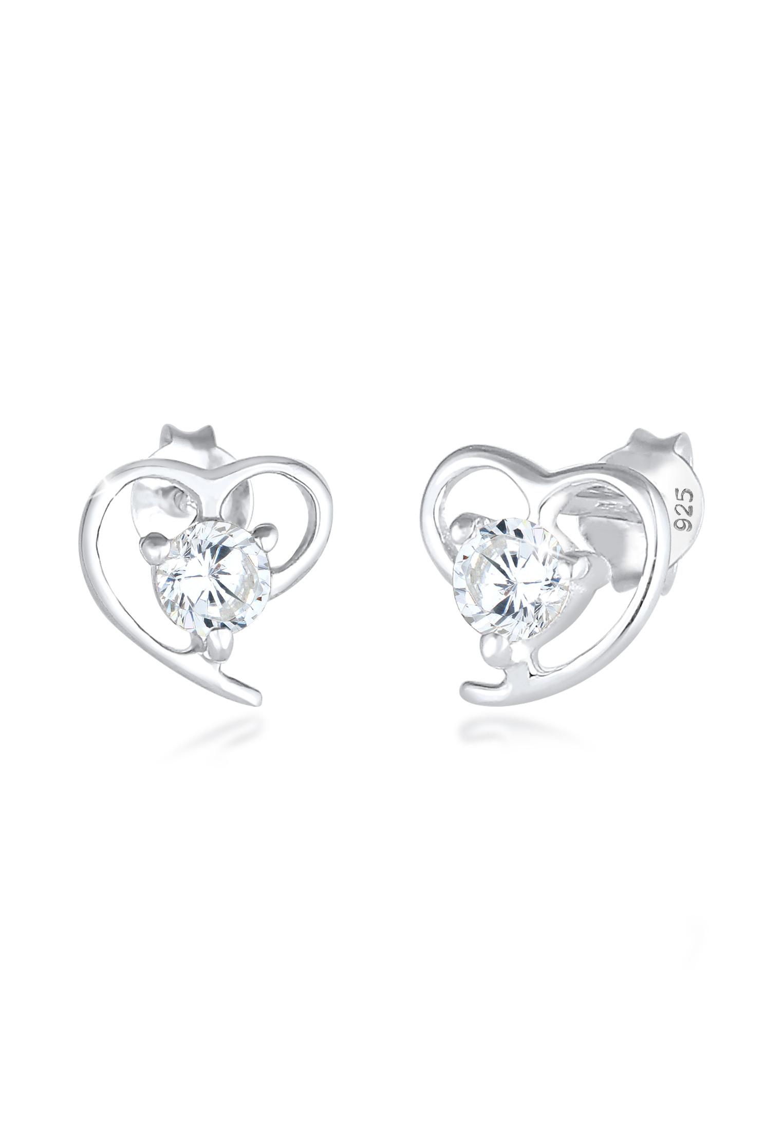 Ohrstecker Herz | Zirkonia ( Weiß ) | 925er Sterling Silber