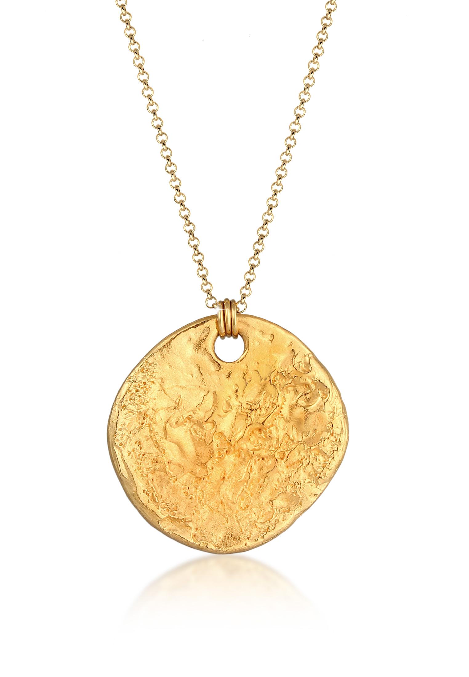 Lange Halskette Geo   925 Sterling Silber vergoldet