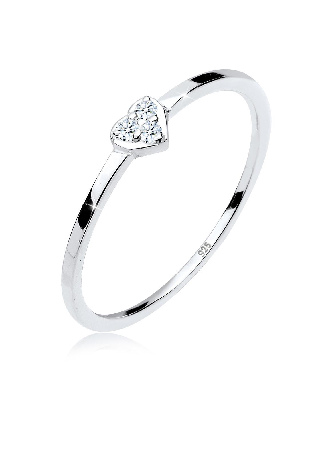 Verlobungsring Herz   Diamant ( Weiß, 0,045 ct )   925er Sterling Silber