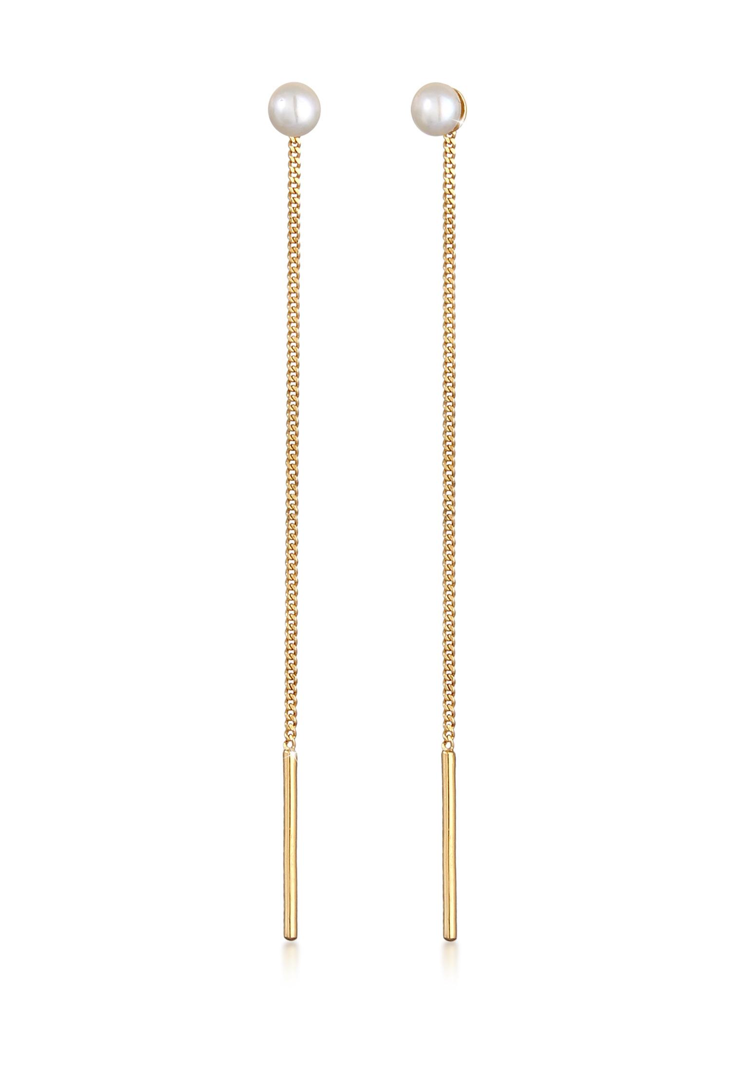Ohrhänger Ear Chain   Süßwasserperle   925 Sterling Silber vergoldet