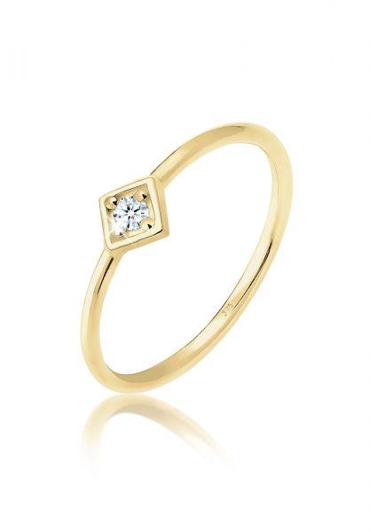 Elli PREMIUM Ring Verlobungsring Geo Diamant (0.03 ct.) 375 Gelbgold
