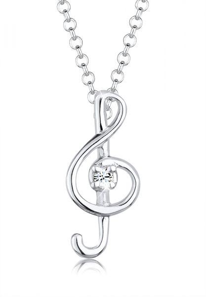 Elli Halskette Notenschlüssel Kristalle 925 Silber