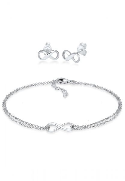 Elli Schmuckset Infinity Symbol Armband Ohrstecker Set 925 Silber