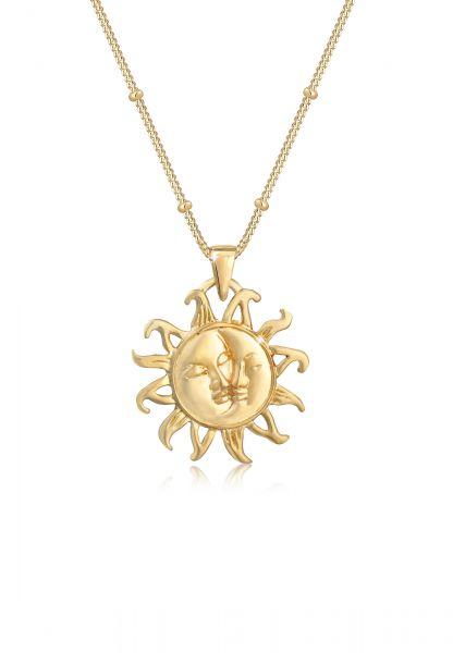 Elli Halskette Kugelkette Sonne Mond Vintage Trend 925er Silber
