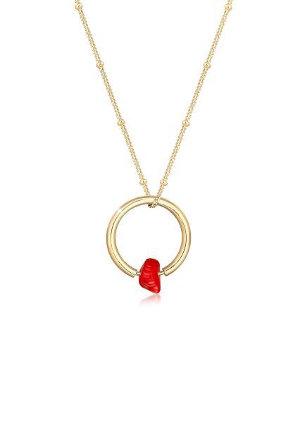 Kugel-Halskette   Koralle ( Rot )   925 Sterling Silber vergoldet