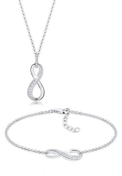 Schmuckset Infinity | Zirkonia ( Weiß ) | 925er Sterling Silber