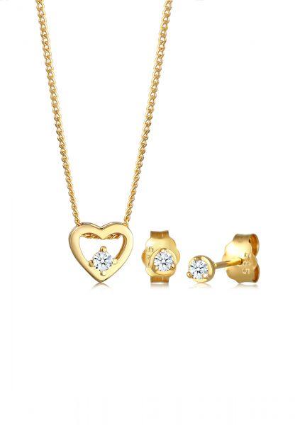 Schmuckset Herz | Diamant ( Weiß, 0,09 ct ) | 585 Gelbgold