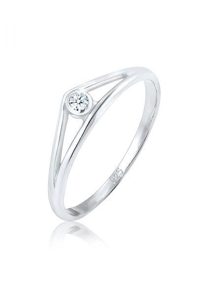 Verlobungsring Geo | Diamant ( Weiß, 0,03 ct ) | 925er Sterling Silber