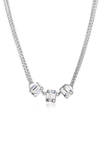 Halskette Geo   Kristall ( Weiß )   925er Sterling Silber