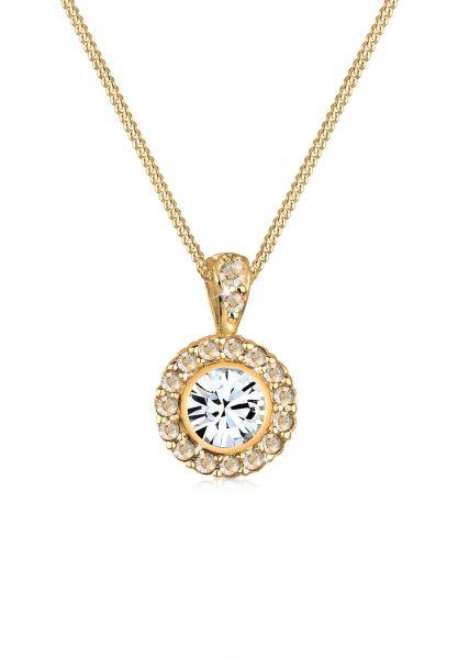 Halskette | Kristall ( Weiß ) | 925 Sterling Silber vergoldet