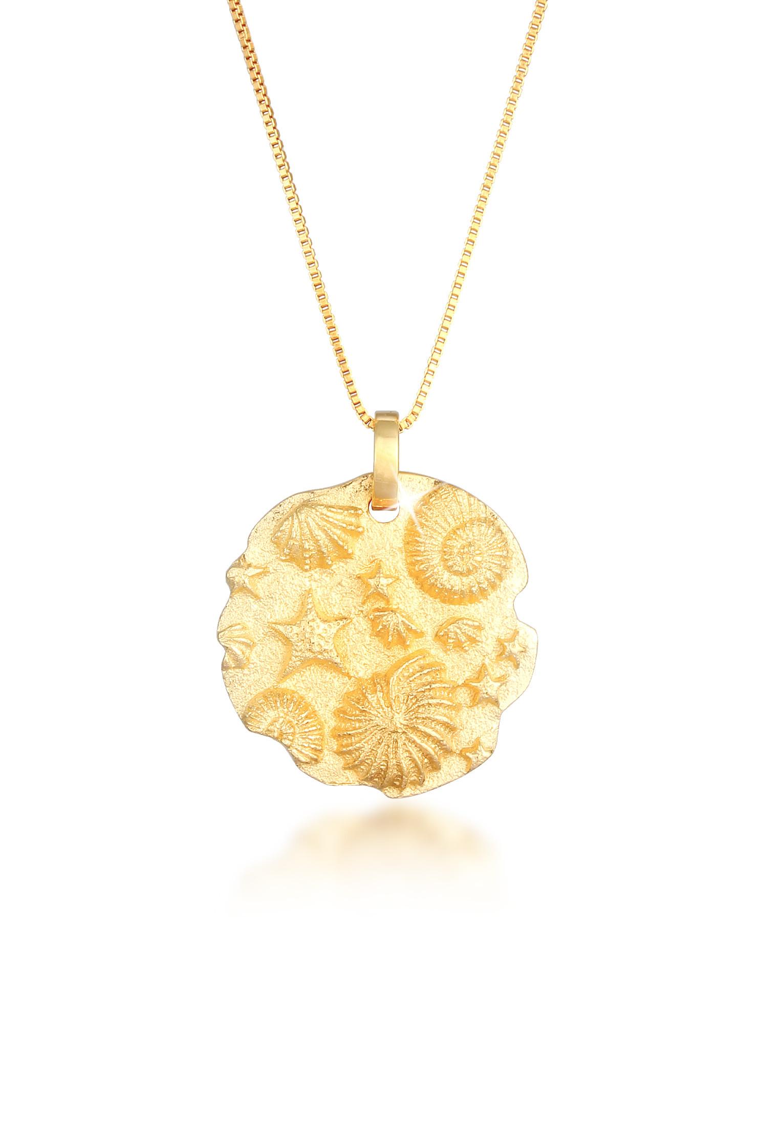 Lange Venezianer-Halskette Münze | 925 Sterling Silber vergoldet