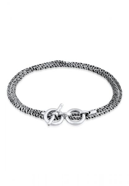 Armband Kordelkette T-Bar   925 Sterling Silber