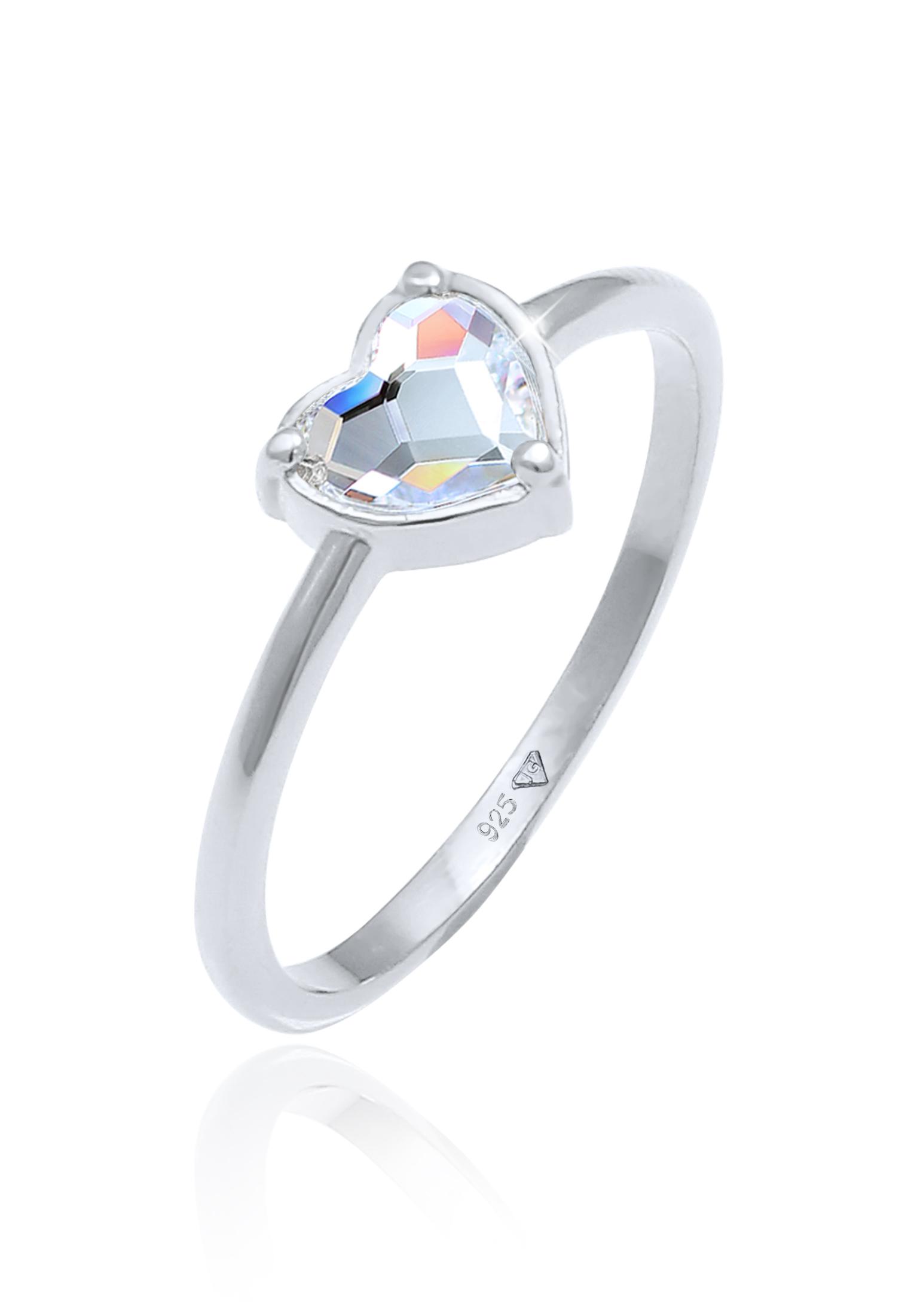Ring Herz   Kristall ( Weiß )   925er Sterling Silber