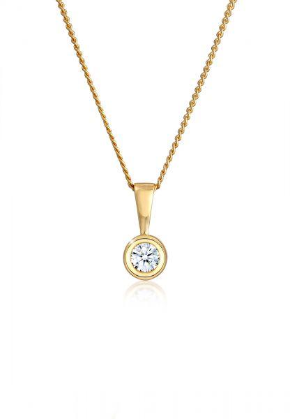 Solitär-Kette | Diamant ( Weiß, 0,11 ct ) | 585 Gelbgold