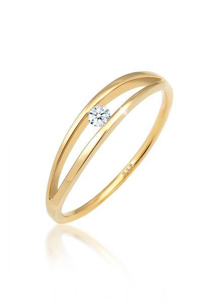 Verlobungsring   Diamant ( Weiß, 0,06 ct )   585 Gelbgold