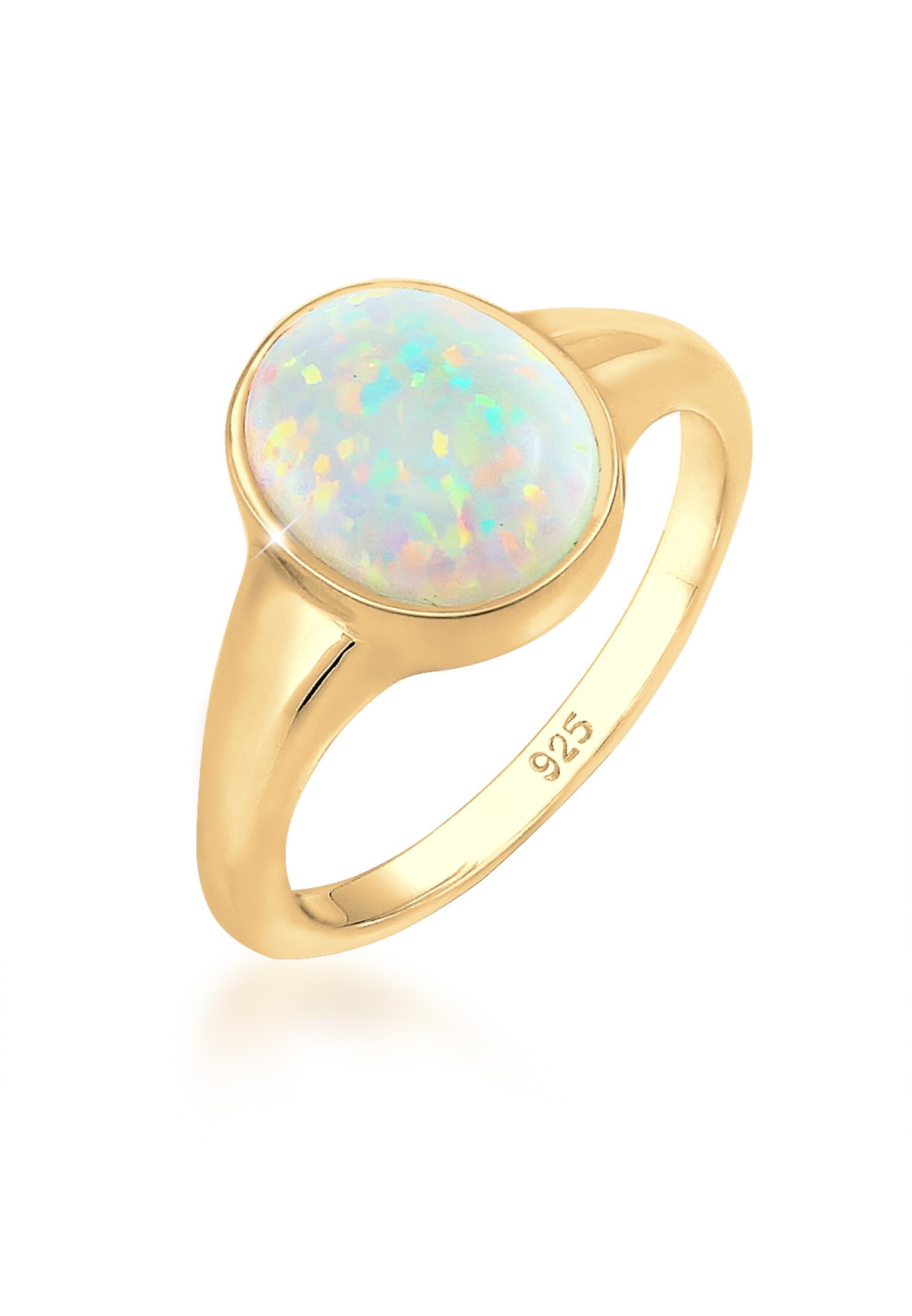 Siegelring | Opal ( Weiß ) | 925 Sterling Silber vergoldet