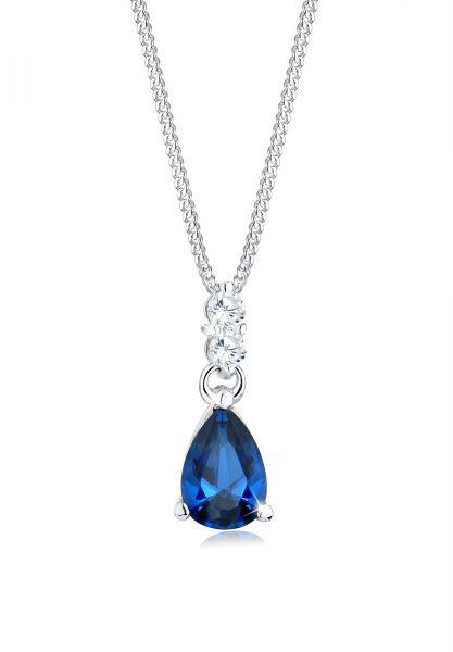 Halskette Tropfen | Saphir ( Blau ) | 925er Sterling Silber