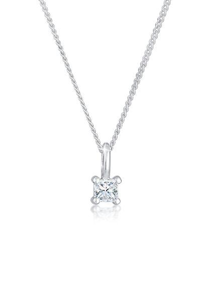 DIAMORE Halskette Diamant (0.1 ct) Viereck Solitär 925 Silber