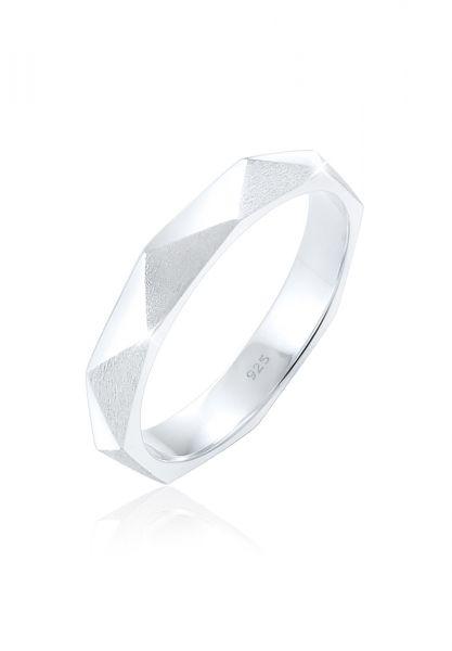 Elli Ring Hexagon Geo Minimal glänzend brushed 925 Silber