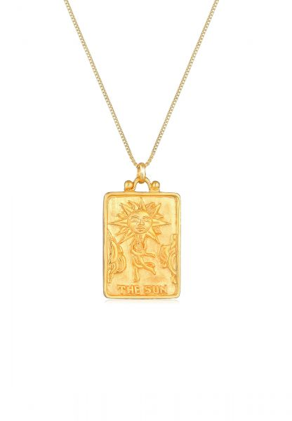 Lange Venezianer-Halskette Sonne   925 Sterling Silber vergoldet