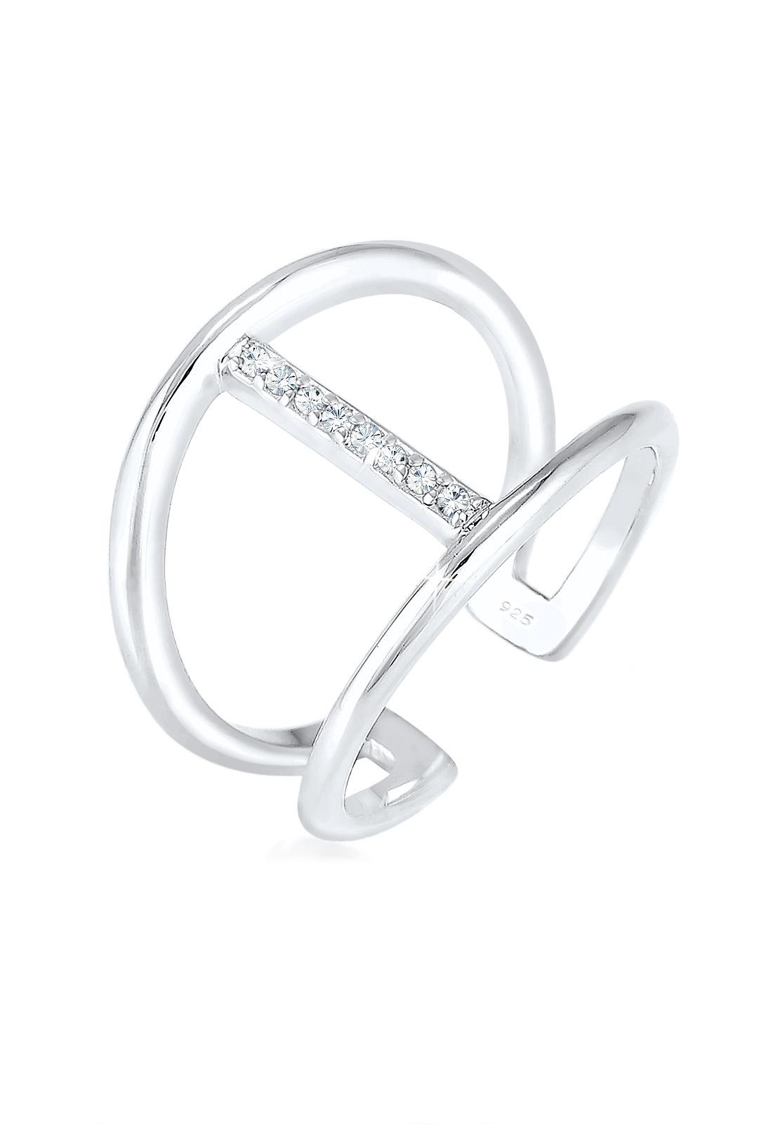 Ring Geo   Kristall ( Weiß )   925er Sterling Silber