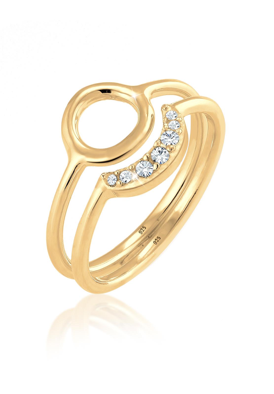Ringset Astro   Kristall ( Weiß )   925 Sterling Silber vergoldet