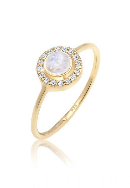 Elli PREMIUM Ring Verlobung Mondstein Diamant (0,08 ct) 585 Gelbgold