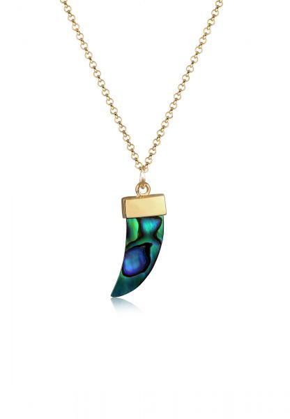 Halskette Zahn   Perle   925 Sterling Silber vergoldet