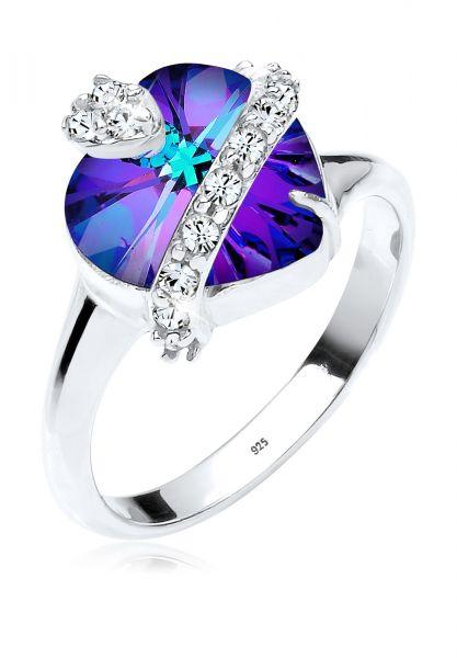 Elli Ring Herz Kristalle 925 Sterling Silber