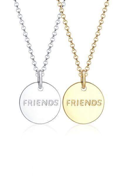 Elli Halskette Partnerkette Friends Infinity Bi-Color 925 Silber
