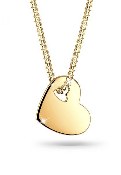 Halskette Herz   925 Sterling Silber vergoldet