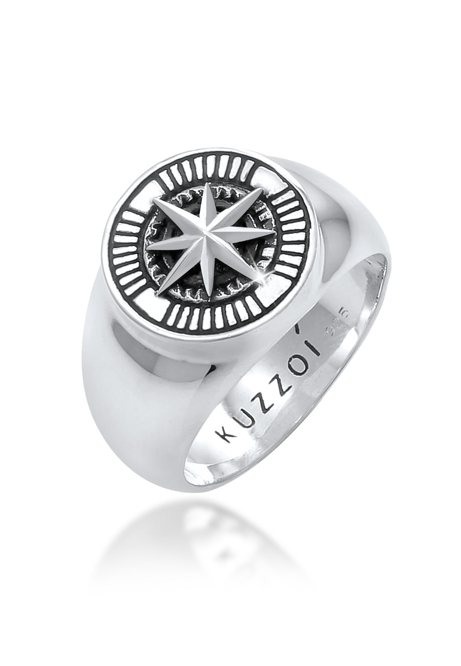 Siegelring Kompass   925er Sterling Silber