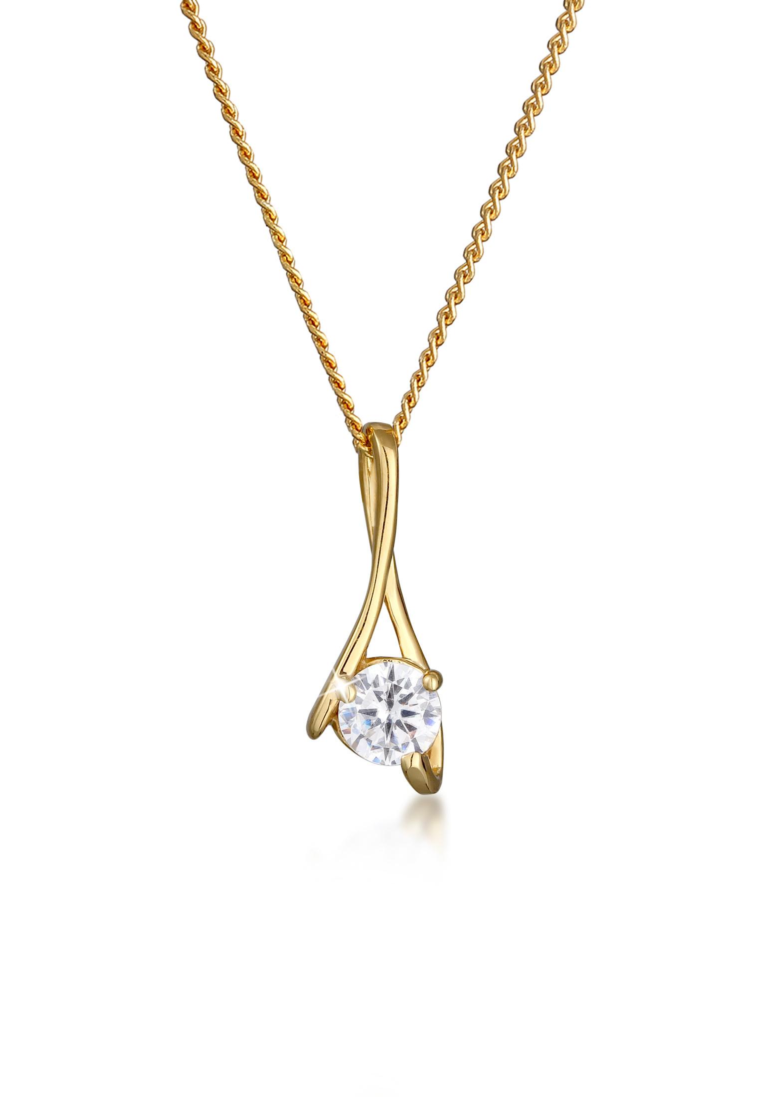 Halskette Infinity | Zirkonia ( Weiß ) | 585 Gelbgold