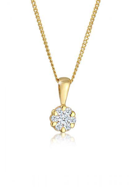 DIAMORE Halskette Blume Brilliant Diamant (0.12 ct.) 585 Gelbgold