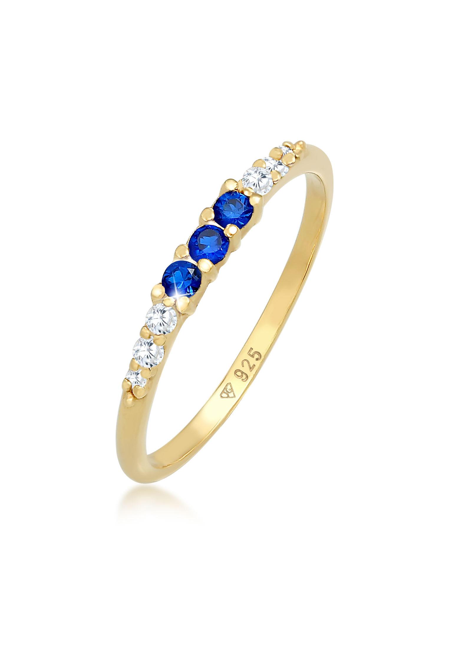 Ring | Saphir ( Blau ) | 925 Sterling Silber vergoldet